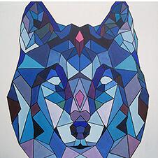Geometryczny wilk, Monika Siwiec, 50×50 cm, nr kat. 13-13-12-2018