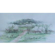 Zielony pejzaż, Karolina Luszowiecka, 8 x 15 cm, nr kat. 64-24-6-2019-poz.3