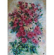 Różana gałązka, Beata Puskarczyk, 70 x 50 cm, nr kat. 60-4-6-2019