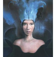 Kobieta w niebieskiej czapce, Jacek Tyczyński, 114 x 101 cm, nr kat. 70/1/8/2019