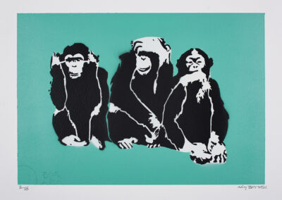 Banksy, 3 wise monkeys, 2019