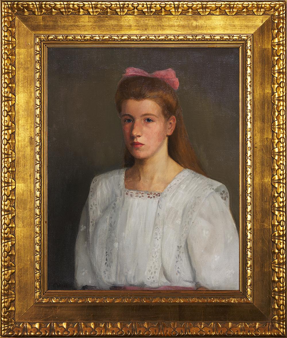 Holzapfel P., Portret dziewczyny z różową kokardą